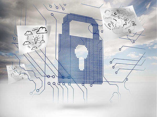 Big padlock with circuit board and drawings floating around with sky on the background-1