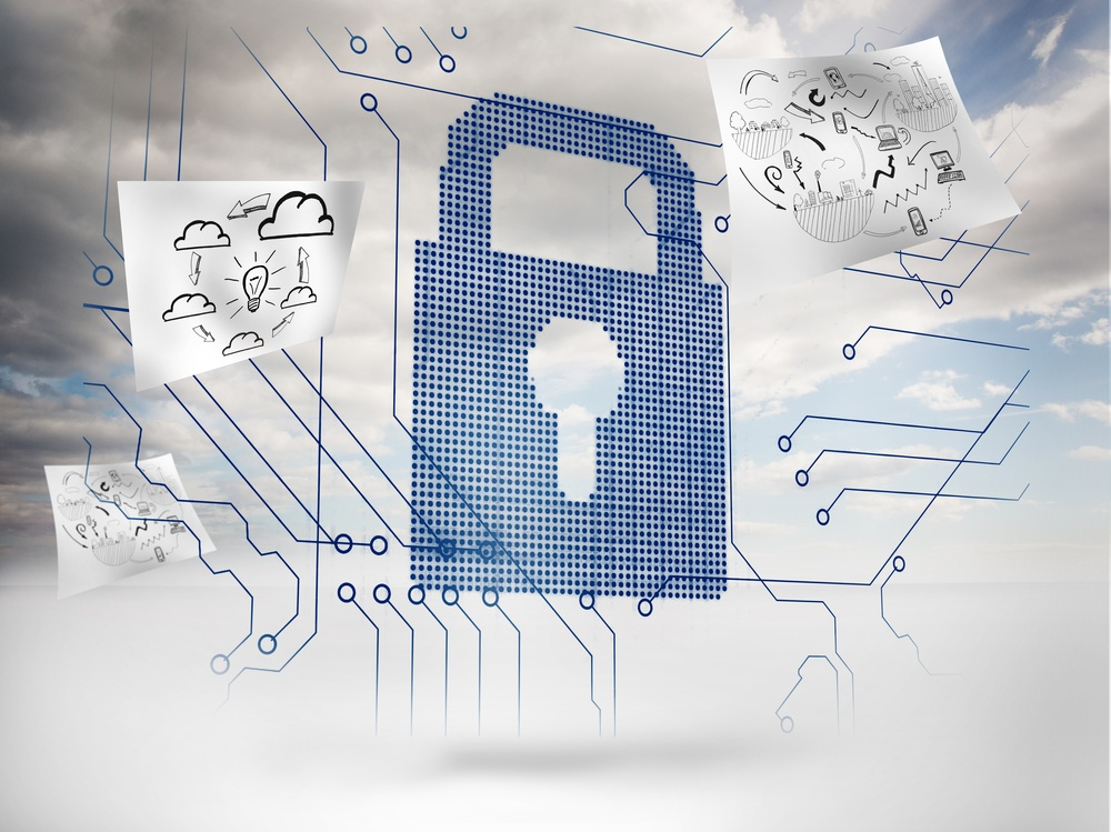 Big padlock with circuit board and drawings floating around with sky on the background.jpeg