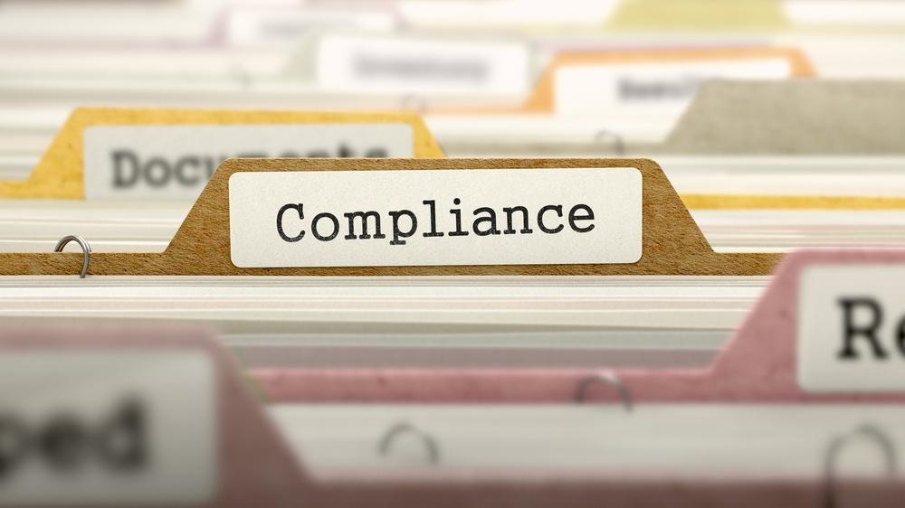 Compliance Concept on Folder Register in Multicolor Card Index. Closeup View. Selective Focus..jpeg
