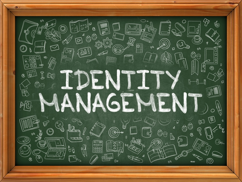 Identity Management - Hand Drawn on Chalkboard. Identity Management with Doodle Icons Around.