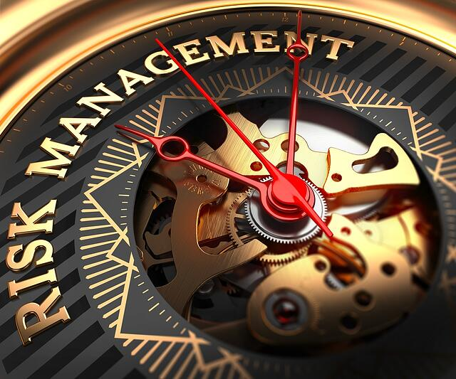 Risk Management on Black-Golden Watch Face with Closeup View of Watch Mechanism..jpeg
